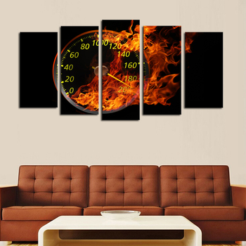 Hot Sale 5 Panels(no Frame) Canvas Paintings Dashboard with Fire Modern Home Wall Decor Painting Canvas Art Hd Print Picture no frame canvas