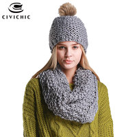 CIVICHIC Woman S Hand Woven Scarf Crochet Hat With Velvet Lady Winter All Match Solid Two