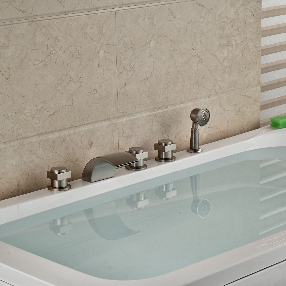 Nickel Brushed Bathroom Tub Faucet Waterfall Spout Hand