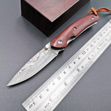 Pocket Folding Knife Damascus Blade Rosewood Handle Outdoor Camping Survival Pocket Knives Tactical Hunting EDC Tool стоимость
