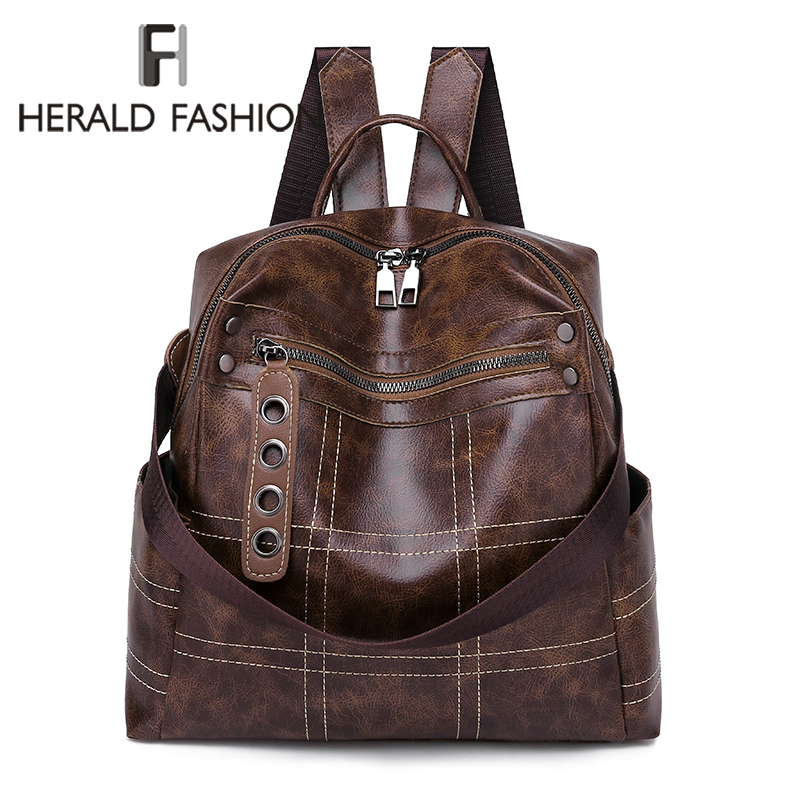 Herald Fashion Women Soft Leather Backpack Vintage Female Students School Bag Large Backpacks Multifunction Travel Bags Mochila
