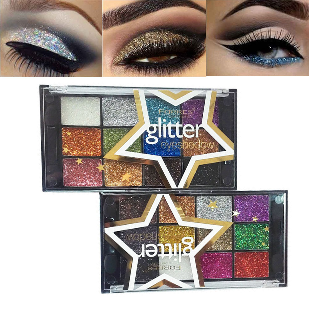 Painstaking Farres Eye Makeup Glitter Eyeshadow Powder Waterproof 12 Colors Diamond Gold Blue Shimmer Eyeshadow Palette Bright Color Am038 Modern Techniques Beauty & Health Eye Shadow