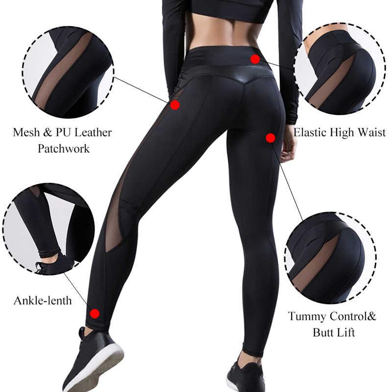 NIBESSER mode maille cuir Leggings femmes Fitness Legging Sport entraînement Leggins Femme maille PU cuir Patchwork Leggings