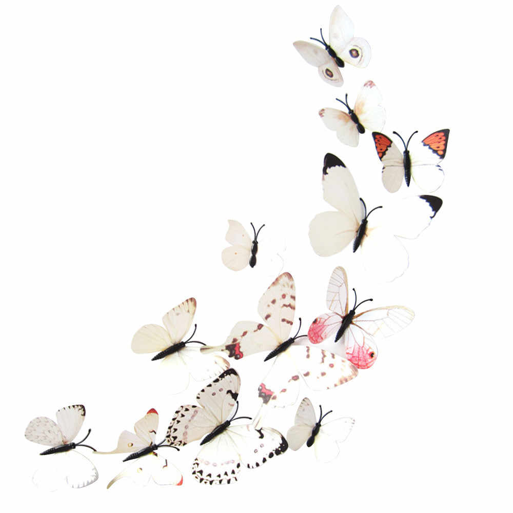 12pcs Butterfly  wall Stickers Art Design Decal Wall Stickers Home Decorations 3D Butterfly Magnet Glue stickers