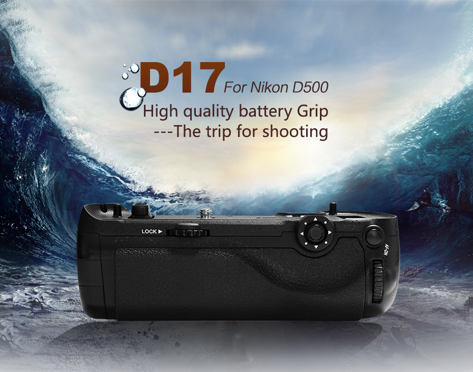 Pixel Vertax D17 Professional Battery Grip For The Nikon D500 DSLR Camera with Vertax VT-A12 Maganize and Vertax D17 Maganize