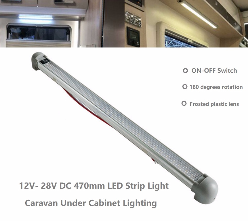 12v 24v 28v DC LED Strip Lights Under Cabinet Swivel Camping Lamp Bars for RV Boat