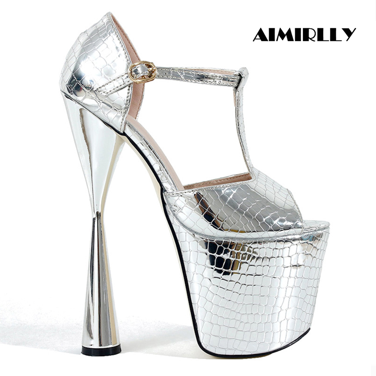 Aimirlly Women Shoes Peep Toe Sky High Heels Platform Sandals Cover Heel Crocodile Pattern T-strap Silver Gold 20cmAimirlly Women Shoes Peep Toe Sky High Heels Platform Sandals Cover Heel Crocodile Pattern T-strap Silver Gold 20cm