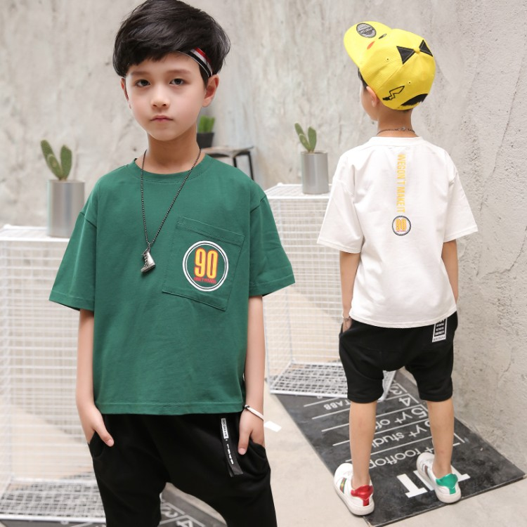 summer boys new fashion sets 5-15 years old child clothing set pocket t shirt Harem Pants children clothes set 2017 top fashion children s clothing summer male child summer set boy clothes t shirt pants set for 4 16 years old