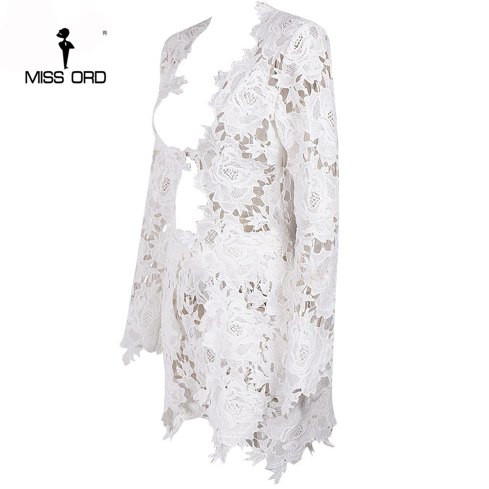 Missord 2017 г. пикантные длинные рукава глубокий v кружева шить топы и шорты женские комплекты ft4953