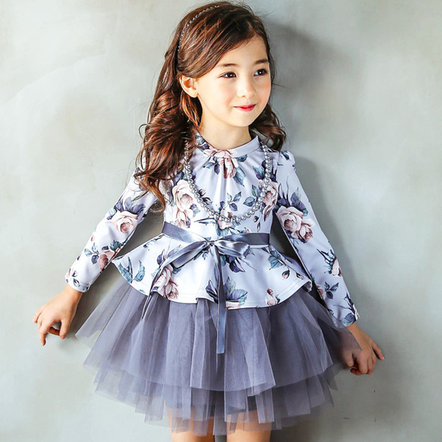 Autumn Winter Kids Toddlers Girls Floral Dresses with necklace Princess Long Sleeve Dress Girl Clothing Party Kids Clothing 2017