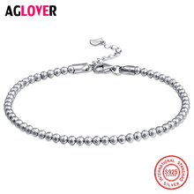 AGLOVER Classic Simple Small Round Ball Bead Bracelet 925 Sterling Silver For Women Contracted Fashion Jewelry Gift