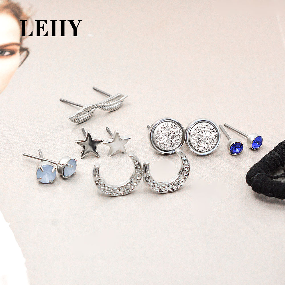 Aliexpress : Buy Leiiy 6 Pairs Dream Catcher Crystal Acrylic Star Moon  Leaf Stud Earrings Set For Women Black Feather Leather Bohemia Pendants  From