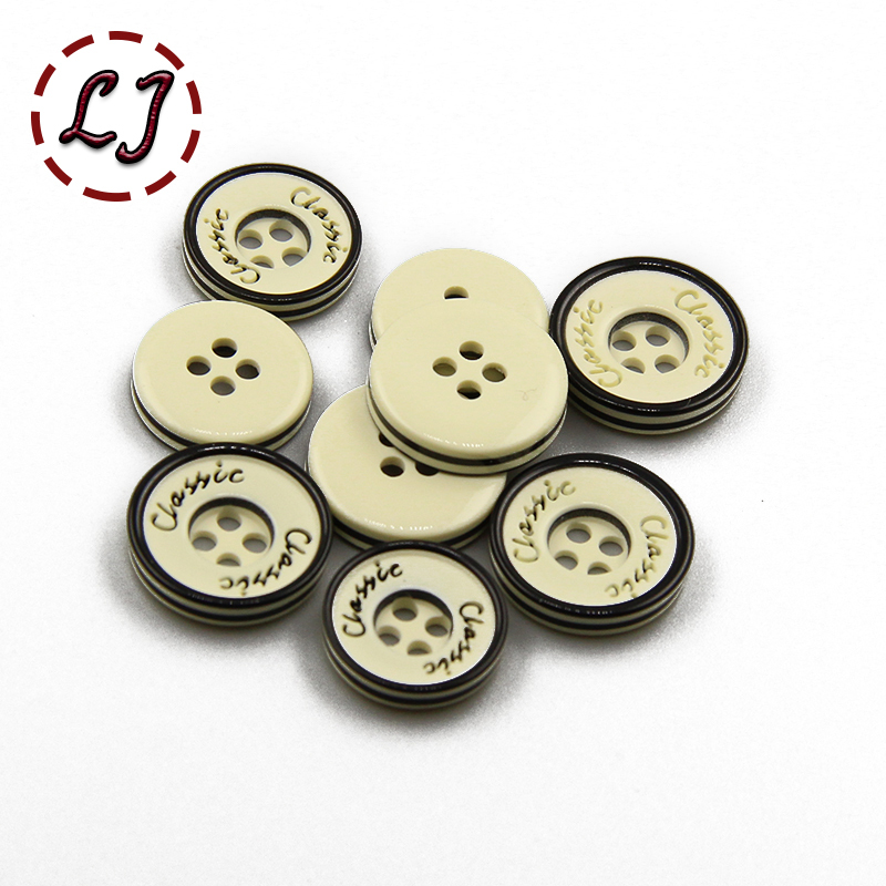 free shipping 30PCS/LOT beige classic letter Button 11mm 12mm resin button plastic vintage buttons sew accessory scrapbooking
