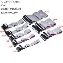 2 pces 2.54mm passo FC-6/8/10/14/16/20/40/50 pinos 30cm jtag isp cabo de dados fita plana cinza para o cabeçalho da caixa dc3 idc
