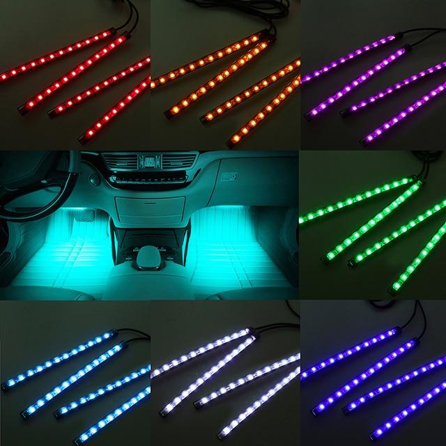 possbay auto styling 4 in 1 universele auto led flexibele neon verlichting decoratieve deur interieur