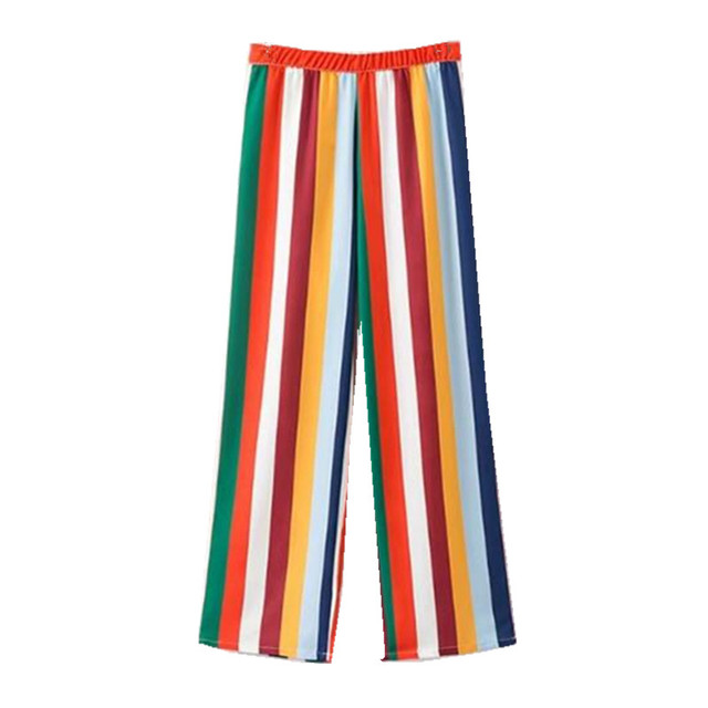 861ac4683111 Sexy Rainbow Colored Striped Print Wide Leg Pants Woman Side Zipper Elastic  Waist Full Length Trousers