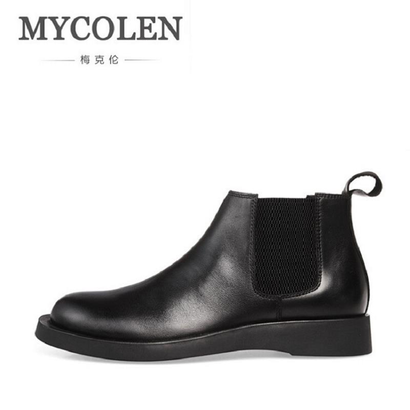 MYCOLEN Leather Mens Casual Ankle Boots Brand Minimalist Design Winter Shoes Black Top Quality Comfort Shoes Men Askeri Bot hot sale mens italian style flat shoes genuine leather handmade men casual flats top quality oxford shoes men leather shoes