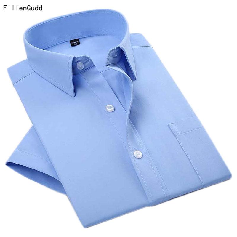 FillenGudd 2018 Summer Formal Dress shirt Summer Short Sleeve Male Casual Work shirts Social Slim Fit Classic Men Pure Clothing