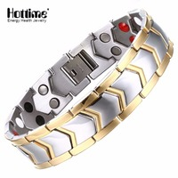 Hottime Double Row Healthy Stainless Steel Magnetotherapy Bracelet Men Jewelry New Fashion Bio Energy Magnet Bracelets