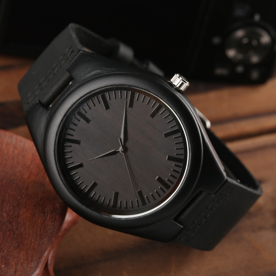 MY MAN Engraved Word Full Black Men's Ebony Wood Watch Clock Male Unique Quartz Leather Valentines Gifts for Husband Boyfriend  2020 2019 2 (16)