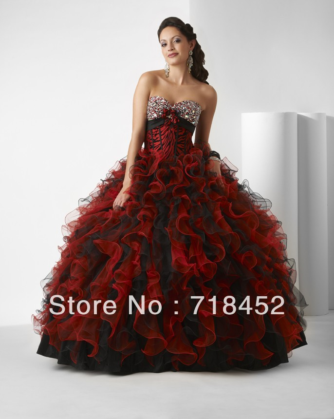 New Designer Red and Black Quinceanera Dresses Ball Gown Sweetheart ...
