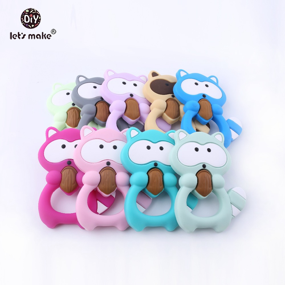 Let's Make Baby Silicone Teether Raccoon 5pc BPA Free Colorful Raccoon Teether Pine Nut Necklace Shower Teething Baby Teether-in Baby Teethers from Mother & Kids