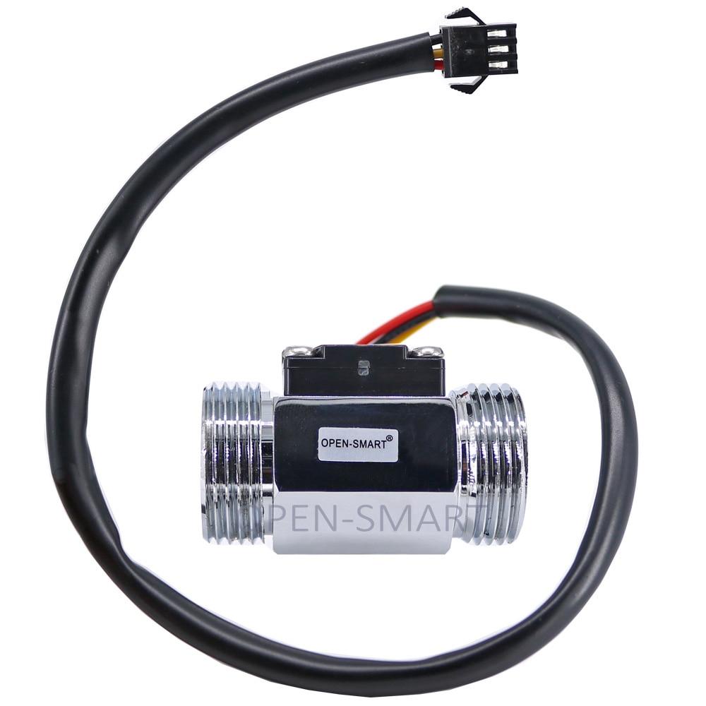 цена на G3/4 Chrome-plated Alloy Steel Water Flow Sensor Turbine Hall Flowmeter Measure water flow rate 2.54mm-3P connector for Arduino