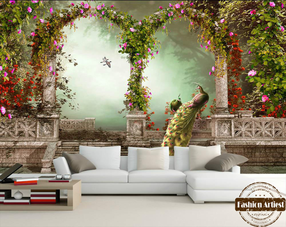 Custom 3d Vintage Wallpaper Mural Roman Pillar Arch Garden Peacock Floral  Scenery Tv Sofa Bedroom Living Room Background In Wallpapers From Home  Improvement ...