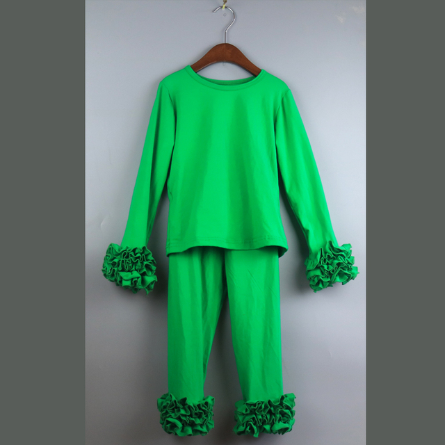 Gelo sólido camiseta verde ruffles T-shirt camisas dos miúdos meninas túnica camisetas t camisas meninas natal t camisa