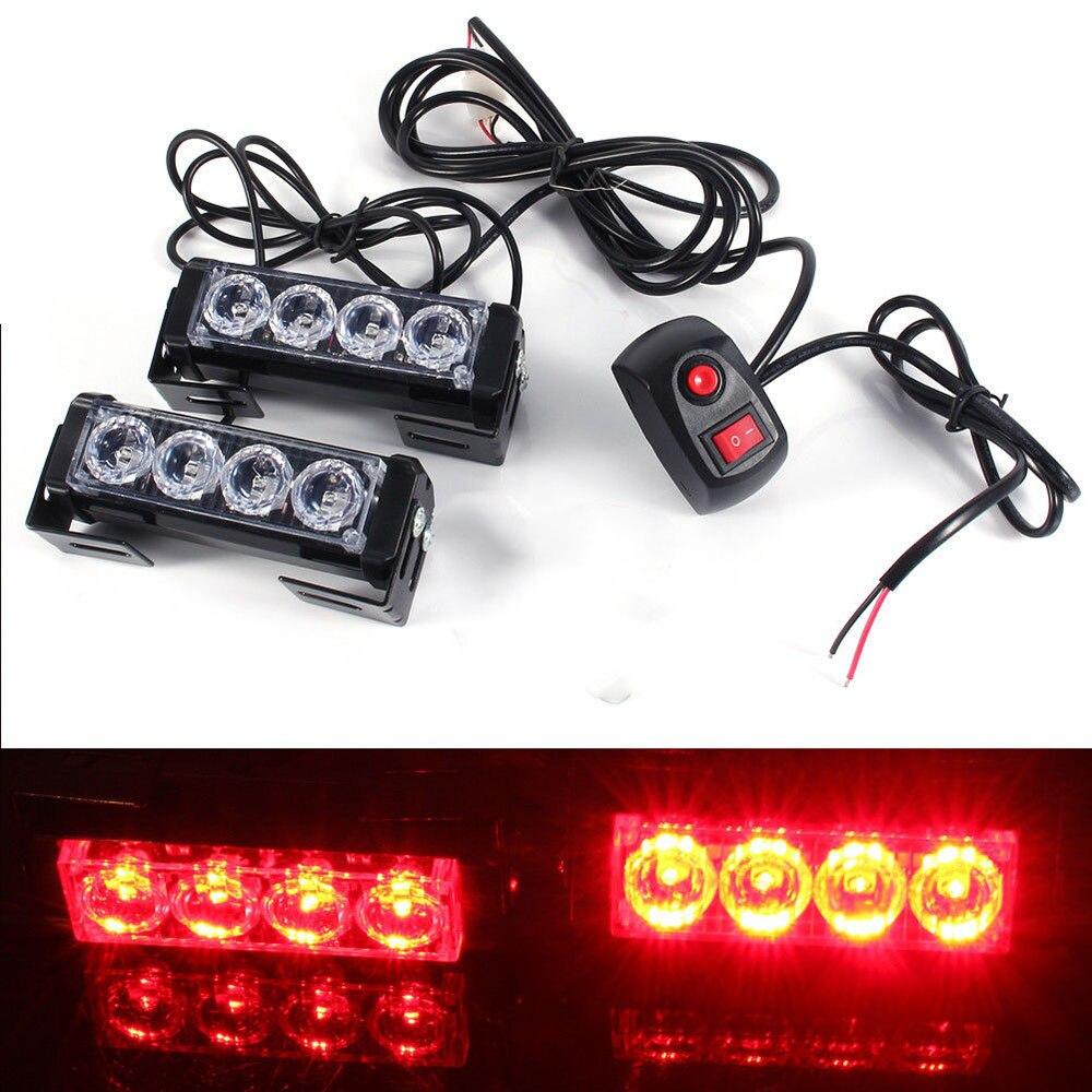 super bright 12v 24w 8 led red strobe emergency flashing warning light for car truck lights 2 4. Black Bedroom Furniture Sets. Home Design Ideas
