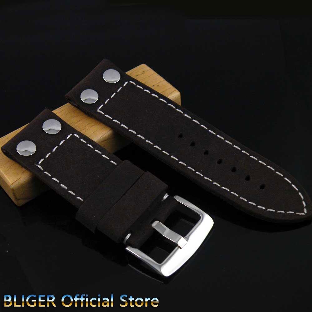 28 MM 1 pièces BLIGER noir vache bracelet en cuir véritable boucle en acier inoxydable fermoir broche bracelet de montre en cuir adapté pour les montres pour hommes ST5