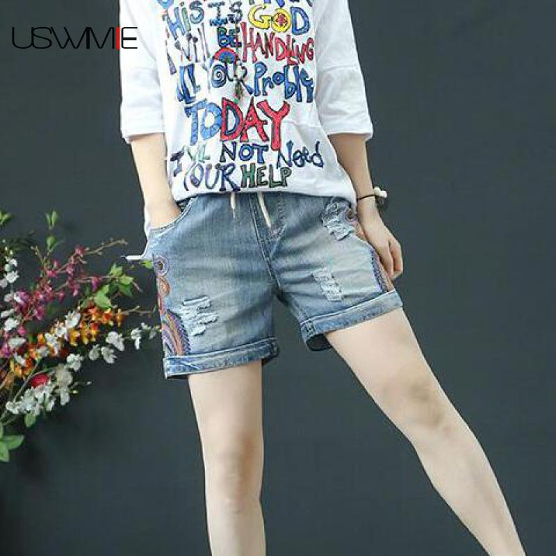 2019 Denim Shorts Casual Folk-custom Embroidery Hole Thin Loose Elastic Waist Elastic Waist Comfort Jeans Woman Shorts USWMIE