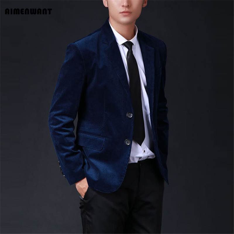 AIMENWANT Suit 2017 Oversized Mens Customize Suit Commercial Corduroy Blazer Male Slim Fit Outerwear Solid 5colors Jacket Gifts