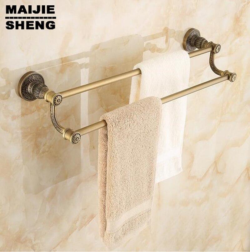 Vintage Towel Storage: Antique Double Towel Bars Towel Holder, Towel Rack Solid