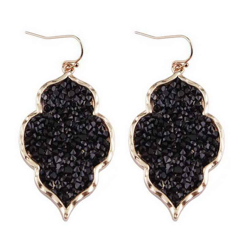ZWPON 2018 Morocco Pave Mixture Crystal Resin Black Heart Earrings for Women Fashion Statement Gold Earrings Jewelry Wholesale