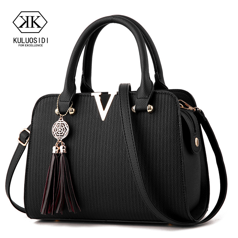 V Style Women Leather Handbag Tassel Luxury Handbags Women Bags Designer Crossbody Bag For Women 2019 Sac A Main Ladies Hand Bag