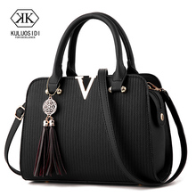 V style Women Leather Handbag Tassel Luxury Handbags Women B