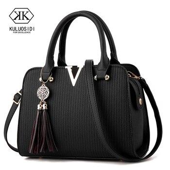V style Women Leather Handbag Tassel Luxury Handbags Bags Designer Crossbody Bag for 2019 Sac a Main Ladies Hand - discount item  41% OFF Women's Handbags