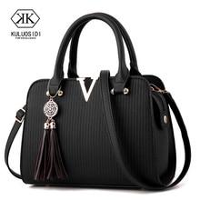V style Women Leather Handbag Tassel Luxury Handbags Women Bags Designer Crossbo