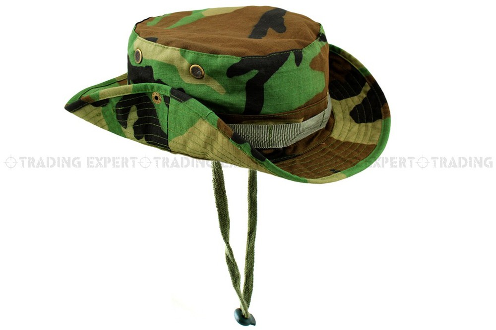 GI RIPSTOP ARMY COMBAT BOONIE JUNGLE BUSH HAT CAP US MILITARY WOODLAND CAMO S-XL