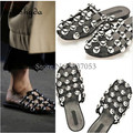 Summer New Women Black Cut-Outs Slide Flat Amelia Studded Leather Caged Slipper Runway Slingback Shoe Sandals Slip On  42  Casua