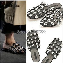 Summer New Women Black Cut-Outs Slide Flat Amelia Studded Leather Caged Slipper Runway Slingback Shoe Sandals Slip On  42  Casua caged flat sliders