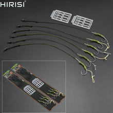 6 x Hirisi Carp fishing hook link with coated line ready made fishing hair rigs with barbed hook and Boilie Stoppers(China)