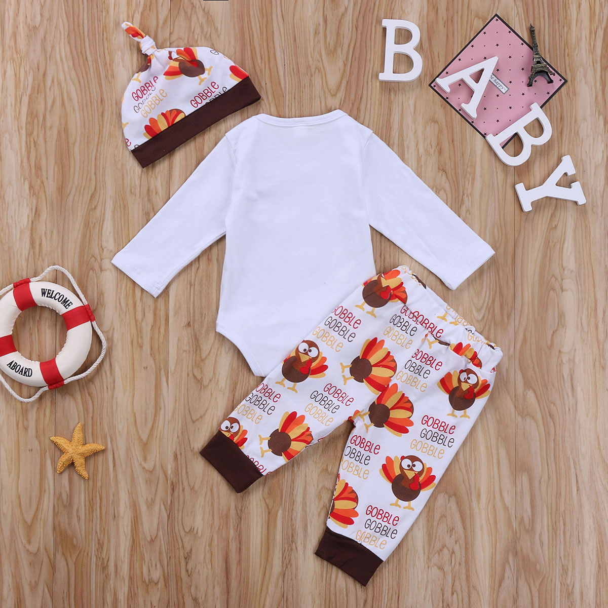Us 5 65 10 Off Thanksgiving Day Newborn Baby Boy Girl Clothes Letter Romper Bodysuit Turkey Print Pants Outfits Festival Baby Clothes Gift In
