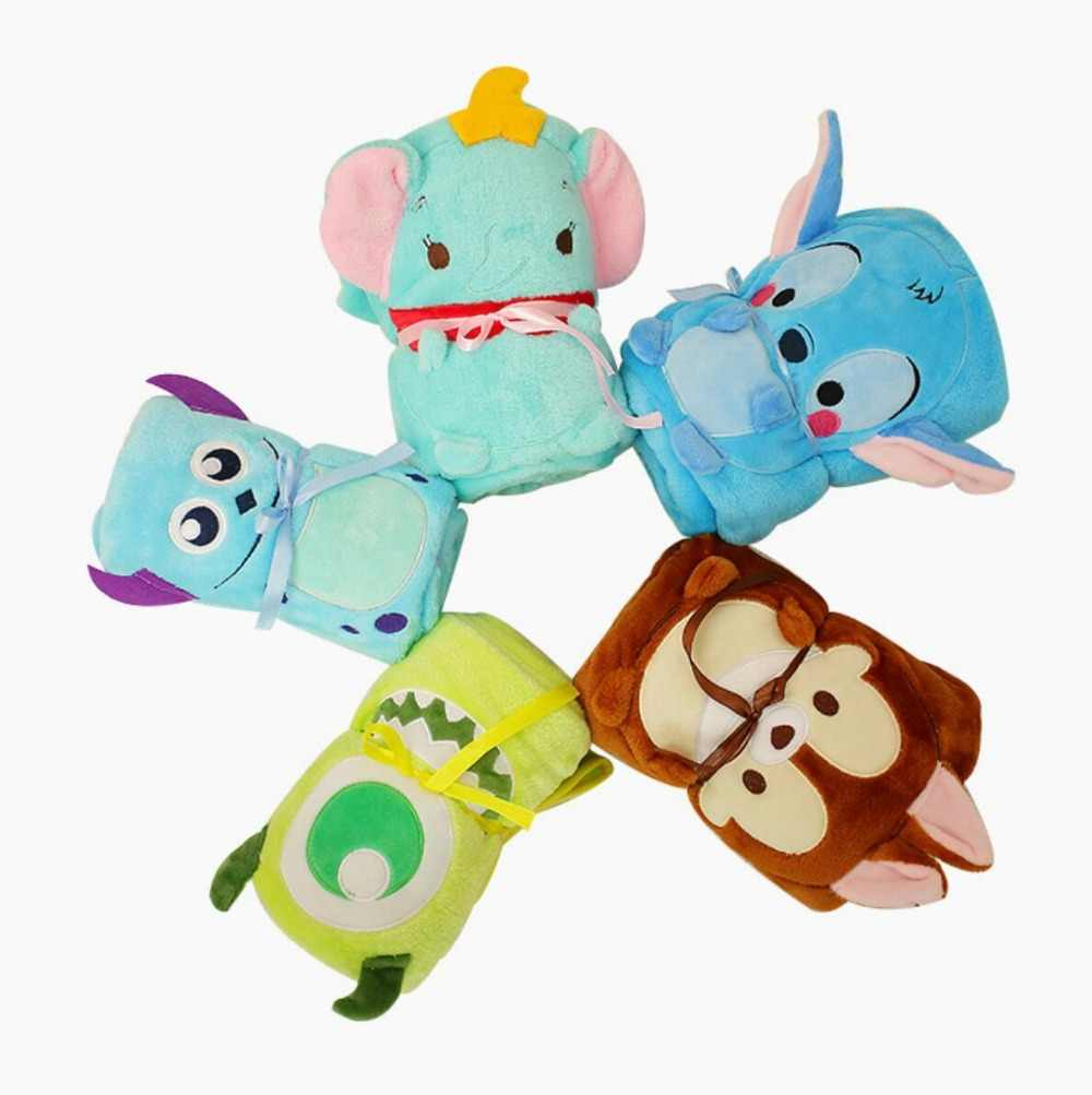 MOVIE Dumbo Monsters, Inc. peripheral plush toy big eye monster Mike Stitch Dumbo elephant doll 80*100CM flannel blanket gift