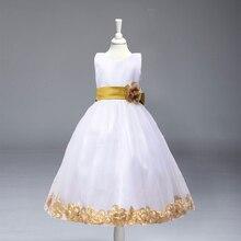 Floral de varejo Em Torno de Vestidos de Festa Da Menina de Flor Vestido Das Meninas Vestidos para Casamento Pageant Comunhão LP-56(China (Mainland))