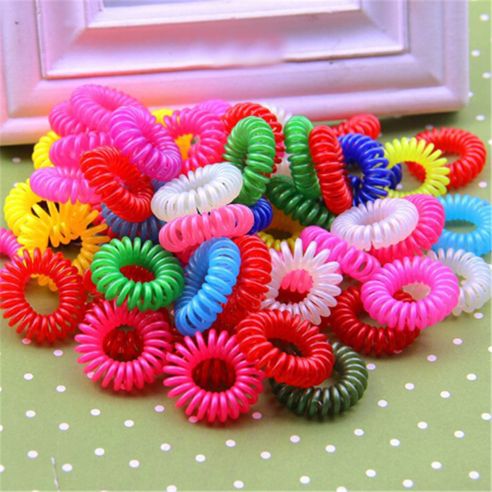 10pcs Hair Rope Telephone Wire Elastic Hair Bands Plastic Spring Gum for Hair Ties No Crease Coil Hair Tie Accessories