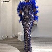 Новое поступление, специальные длинные платья знаменитостей, Русалка с жемчугом и перьями, модные платья для красной дорожки vestido de festa на заказ