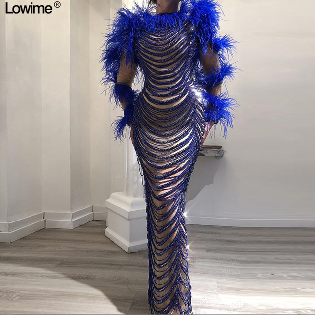 Robe longue sirène avec perles et plumes, spéciale sur mesure, tapis, à la mode, nouveauté