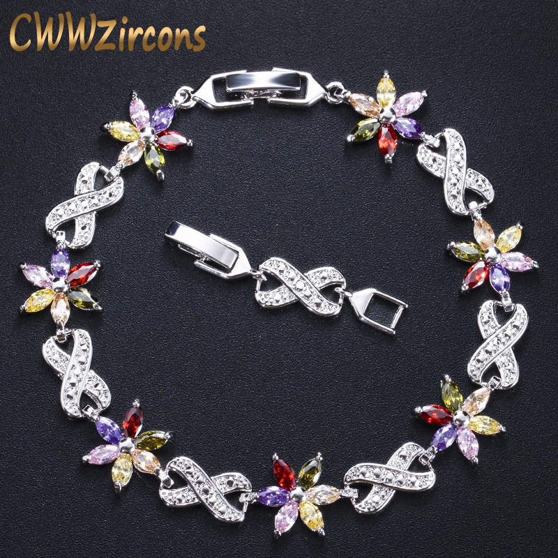 CWWZircons Fashion Brand Jewelry Silver Color Red Blue Green Cubic Zirconia Crystal Flower Charm Bracelets for Women CB005
